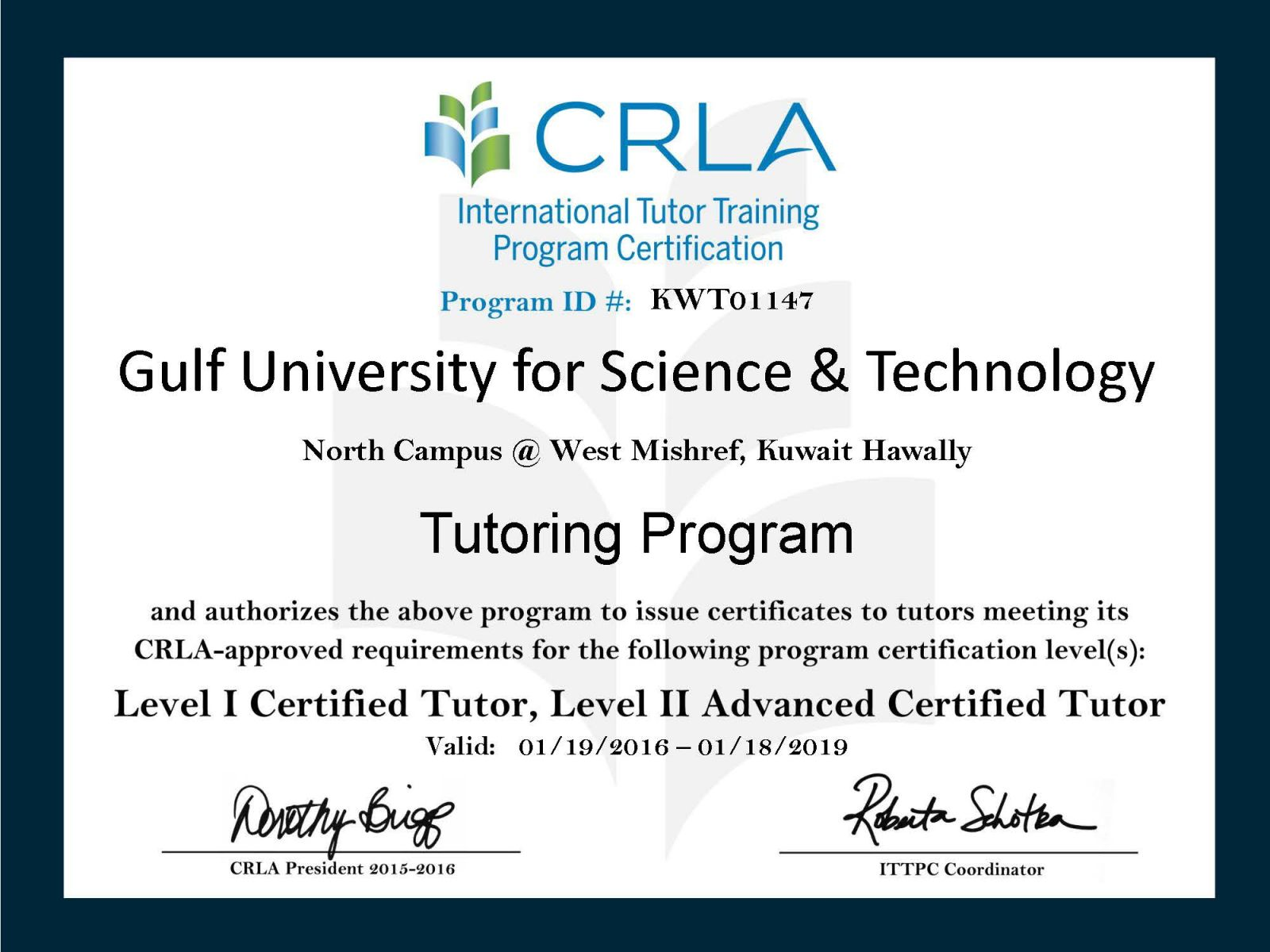 Tutoring Program Has Been Certified For Stage 2 Level 2 From Crla